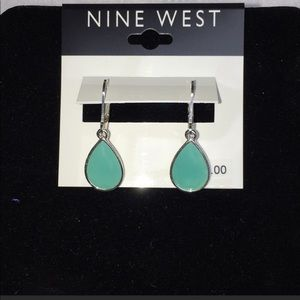 NWT Nine West Silver Tone Turq Teardrop Earrings
